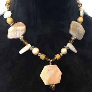 Jewelry - Earthy Fossil Gem Stone Necklace